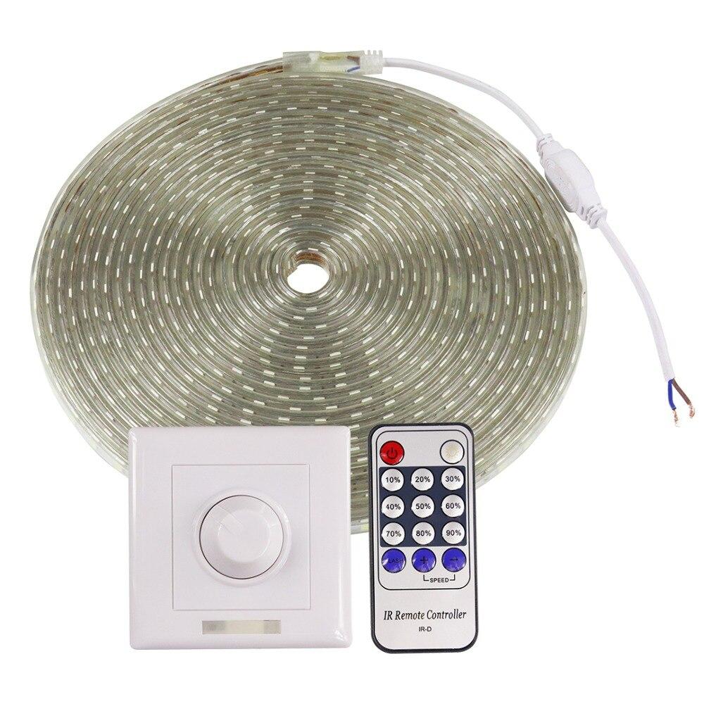 SMD 5050 LED bande 220 V ruban LED avec variateur d'intensité lumière avec contrôleur IP67 étanche 60 LED s/m LED bande blanc chaud 10 m 20 m 25 m IN