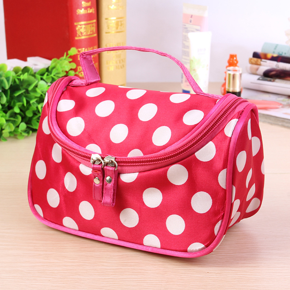 1Pc Portable Cosmetic Bag Cute Polka Dot Women Organizer Durable Double Zipper Toiletry Make Up Girls Fashion Travel Storage #