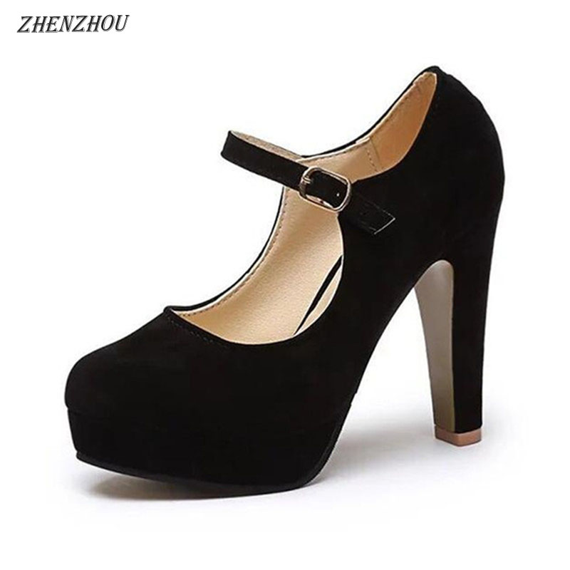 Free shipping shoes woman Pumps 2018 Women 's shoes summer the new sexy high heels rounded suede comfortable work shoes 12cm