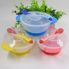 Детская крышка для кормления для маленьких детей, обучающая глубокая тарелка с ложкой, бинауральная детская посуда для кормления, Детская силиконовая миска для детей