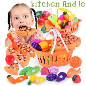 Image 4 - 1 conjunto crianças fingir papel jogar casa brinquedo, corte, frutas, plástico, legumes, cozinha, brinquedos, presente, jogo divertido