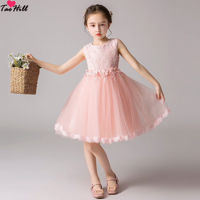TaoHill Vintage   Flower     Girl     Dresses   For Weddings Applique Pearls Blush Pink Princess Lace Bow Kids First Communion Gown