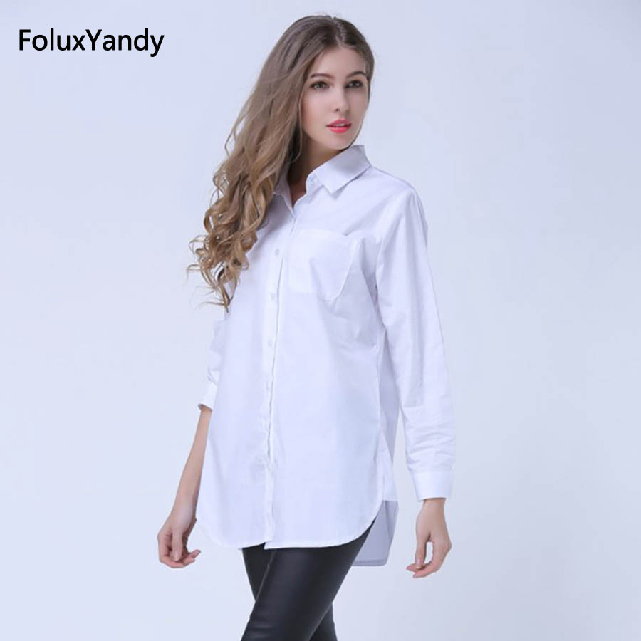 Classic White   Shirts   for Women Plus Size 3 4 5 XL Casual Loose Long Sleeve   Blouse     Shirt   YWS05