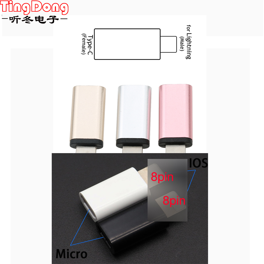 2pcs For IPhone To Micro USB / Type-C Charger Adapter Female To Male Converter Adapter For IPhone 6 6s 7 8 Plus X 10 For IPad