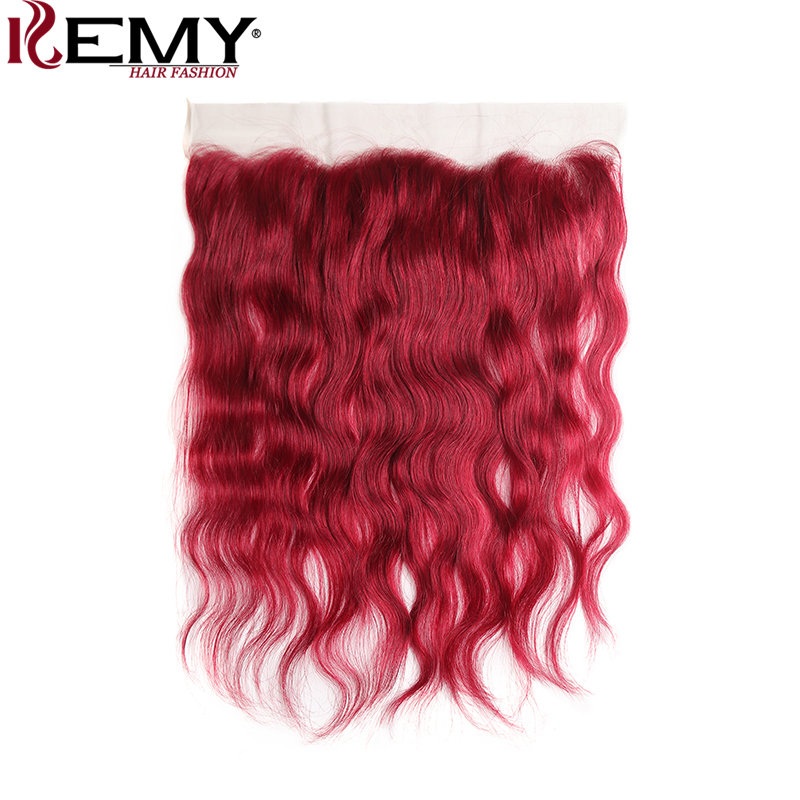 99J Burgundy Brazilian Natural Wave Lace Frontal Closure Free Middle Part 13 4 Swiss Lace Closure