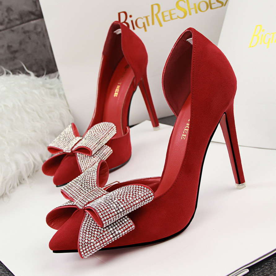 e17929b525 Brand BIGTREE Ladies Point Toe Big Bow Diamond Suede High Heel Stilettos  Two piece Party Pumps Fushia Red Pink Heels Shoes Women-in Women's Pumps  from Shoes ...