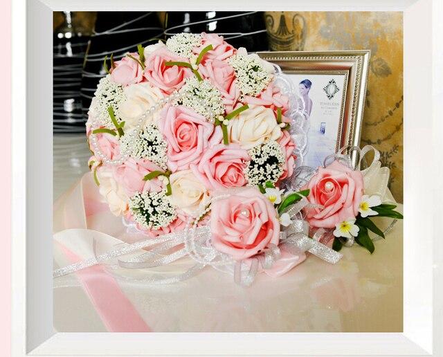 2017 Невесты Свадебный Букет Новый Дешевый Розовый и Цвета Слоновой Кости Свадебные Цветы Свадебные Букеты Искусственные Свадебный Букет Роза