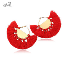 Badu Big Tassel Earring Women Bohemian Round Hoop Earrings 2017 Summer New Arrival Holiday Jewelry Vintage Fashion Gift