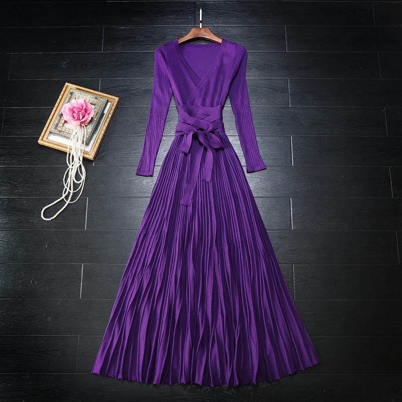 Wysoka jakość najnowszy 2017 projektant mody sukienka w dużym rozmiarze damska z długim rękawem, dekolt w serek, na co dzień, Knitting długa sukienka w Suknie od Odzież damska na  Grupa 1