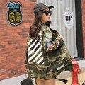 Mujeres de la chaqueta de 2016 Nuevas Mujeres de la Llegada Impreso Chaqueta de Camuflaje Del Ejército Verde Chaquetas Mujer Otoño Cazadoras De Mujeres Abrigo B3981