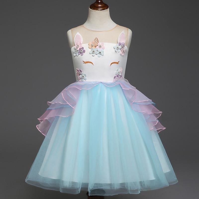 fancy kids unicorn dress for girls embroidery flower ball