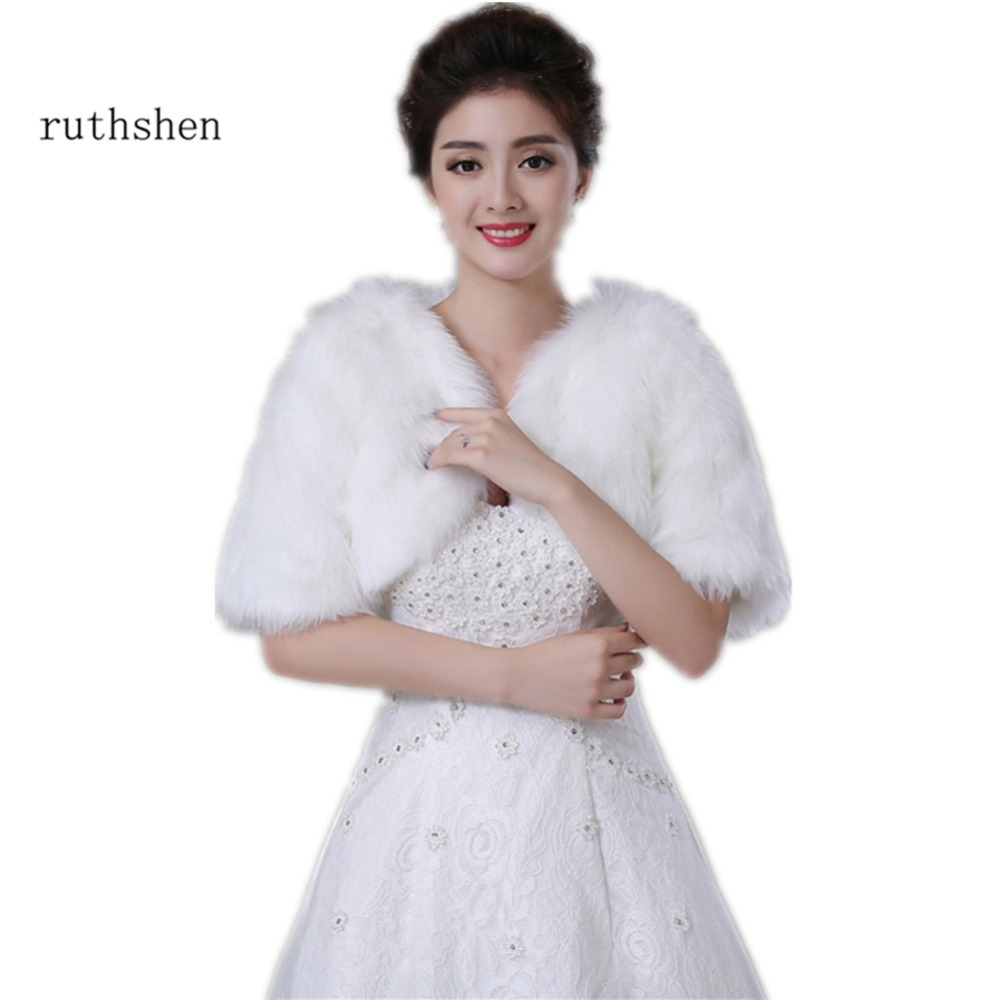 Ruthshen Wedding Accessories Cheap White / Ivory Faux Fur Bridal Capes With Short Sleeves Wedding Bolero / Wraps / Shawls