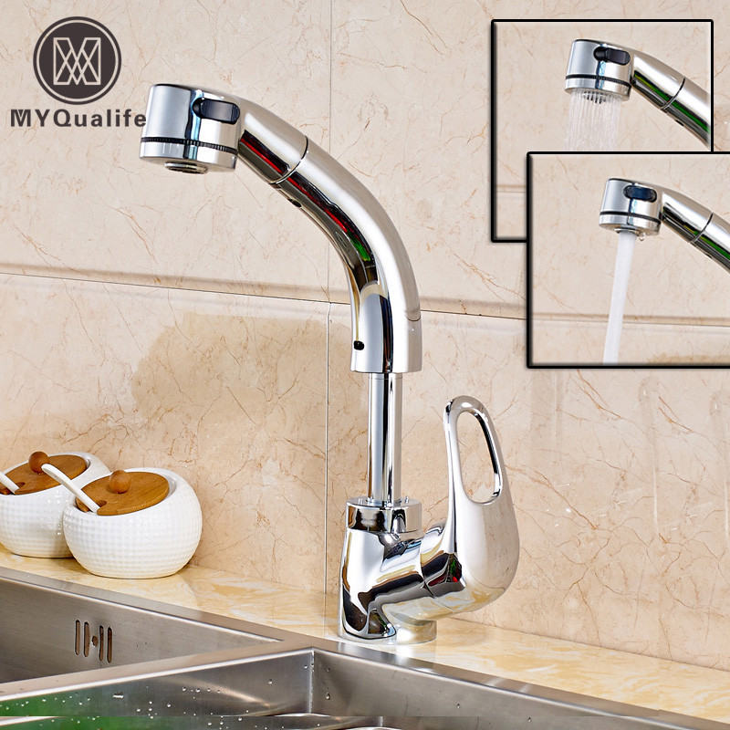 Chrome Pull Out Sprayer Deck Mounted Hot and Cold Kitchen Faucet Single Handle Dual Sprayer Function Bathroom Crane Taps brand new deck mounted chrome single handle bathroom