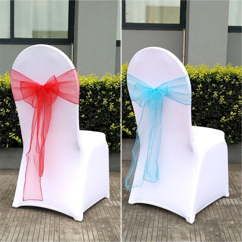 unidsset silla del banquete de boda sash bow organza para cubierta sashes partido