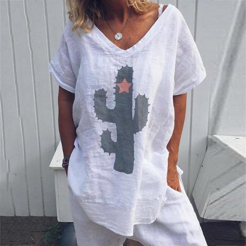 Cactus Printed Summer Blouse Woman Short Sleeve V Neck Tunic Shirts Ladies White Plus Size Womens Tops Blouses 2019 Shirt 5XL