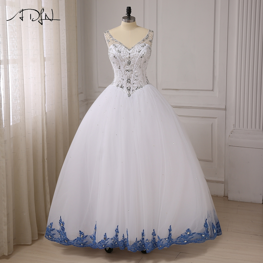 ADLN White Ball Gown Quinceanera Dresses Sexy V-neck Sleeveless Sparkling Beaded Crystals Sweet 16 Dress Lace-up Back