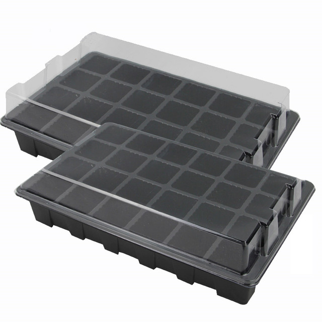 24 Cells Hole Plant Seed Tray Plastic Nursery Tray With Lid Garden Plant  Germination Kit Grow