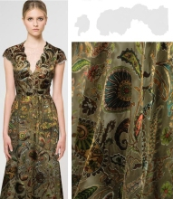 Sexy Golden jacquard cashew thin silk fabric dress tweed scrapbook printing Party satin tissu african chiffon Scarf A224