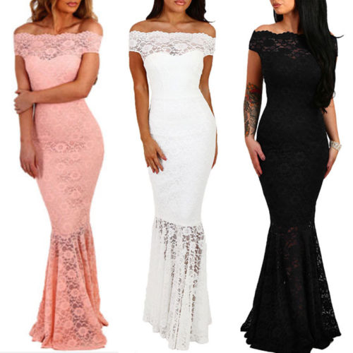 UK Women Formal Long Lace Dress Prom Evening Party Bridesmaid Wedding