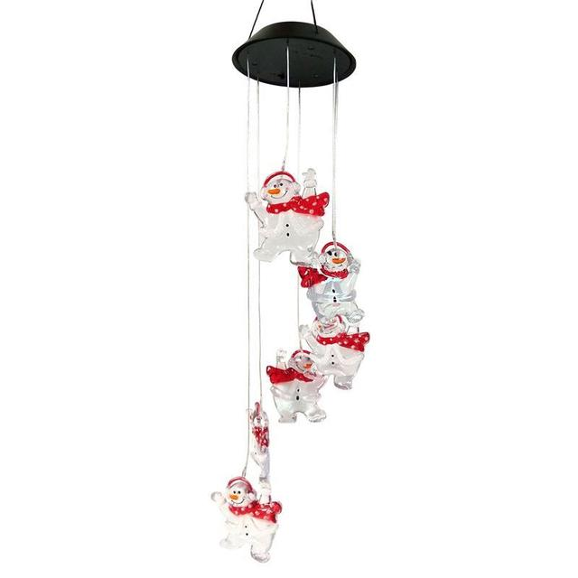 Snowman Wind Chimes Solar Led Color Changing Chime Lamp For Wedding Party Christmas Decoration