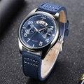 Neue Blau Gesicht Chronograph Pilot Quarz Uhren Männer Top Marke Luxus Wasserdicht Auto Datum Leder Gürtel Armbanduhren Zegarek Meski