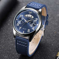 New Blue Face Chronograph Pilot Quartz Watches Men Top Brand Luxury Waterproof Auto Date Leather Belt Wristwatches Zegarek Meski