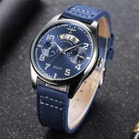Nouveau cadran bleu chronographe pilote montres à Quartz hommes Top marque de luxe étanche Auto Date en cuir ceinture montres Zegarek Meski
