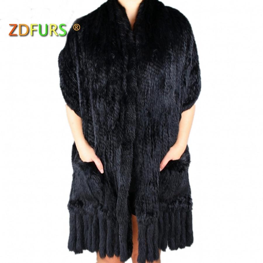 ZD Мех животных S * Роскошные для женщин из натуральной вязаный кролик шарфы для с ленточки леди пашмины обертывания осень зим