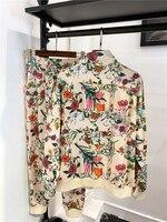 2019 Весна для женщин комплект из 2 частей цветочный принт ретро повседневный костюм женский спортивный костюм брюки для девочек Лидер продаж