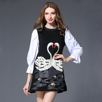 Plus Size Dresses For Women 2017 New Fashion Spring Summer Elegant Exquisiembroidery Patchwork Flare Sleeve Dress