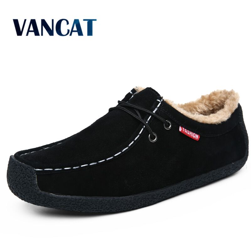 Vancat Brand Fashion Men Shoes Suede Leather Snow Boots Warm winter plush Ankle Boots Waterproof Casual Men Boots Big Size 39-50 cimim brand new fashion genuine leather boots men ankle boots casual warm winter snow warm fur boots men shoes plus size 39 50