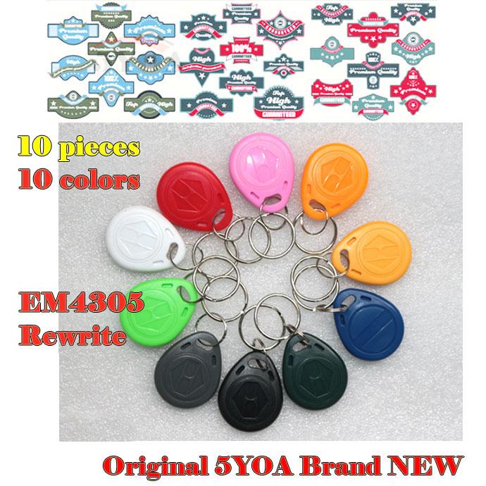10pcs EM4305 Copy Rewritable Writable Rewrite EM ID keyfobs RFID Tag Key Ring Card 125KHZ Proximity Token Access Duplicate(China)