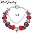 European Style Silver Plated Charm Bracelet fit Original Bracelet Women DIY Bracelets Murano Glass Beads