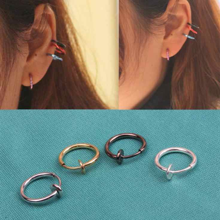 Hot Sale Mode Punk Klip Di Palsu Piercing Nose Lip lingkaran Cincin Anting Aksesoris Diy Y184KK0006208