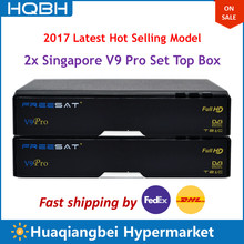 2PCS of Singapore HD TV Set Top Box V9 Pro Upgrade of V8 Golden Supports WIFI Youtube Receives CH227 CH855