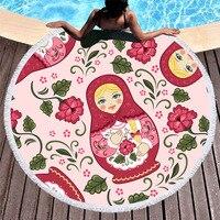 3d Pattern Russian Matryoshka Print Round Beach Towel Cute Yoga Outdoor Picnic Mat Sports Towel Children Gift Cartoon Bath Towel