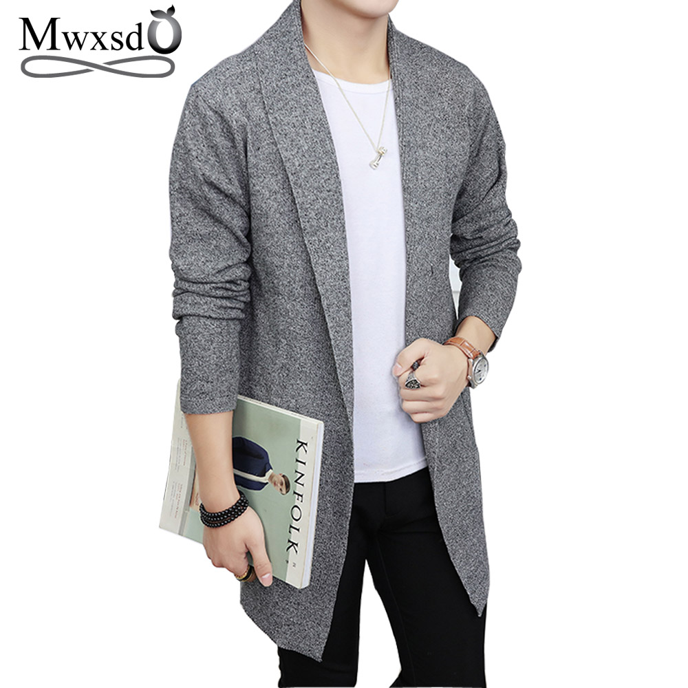 Mwxsd Brand Men's Soft Cotton Middle Long Cardigan Men Pull Homme Knitted Warm Sweater Winter Autumn Male Cardigan Hombre Cloth
