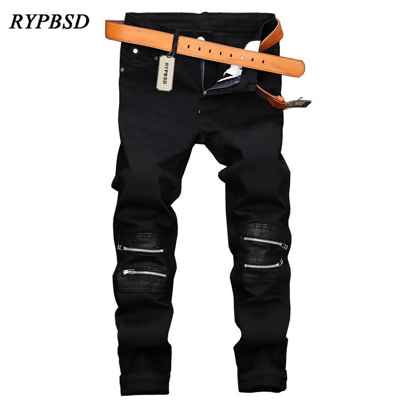 New Arrival 2017 Zipper Leather Patchwork Black Stretch Skinny Jeans Pants Men Fashion Hip Hop Punk Rock Straight Denim Pants