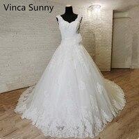 Vinca Sunny Свадебные платья с открытой спиной Кружева из бисера V шеи Vestidos de Novia сексуальное свадебное платье de mariage 2019