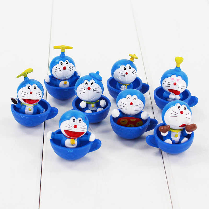 8pcs/set Anime Cartoon Cute Doraemon Mini PVC Figures Model Toy Dolls