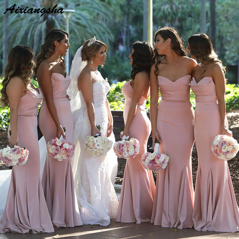 Simple Sweetheart Floor Length Long Wedding Guest Dress for Party robe demoiselle d'honneur Pink Bridesmaid Dresses