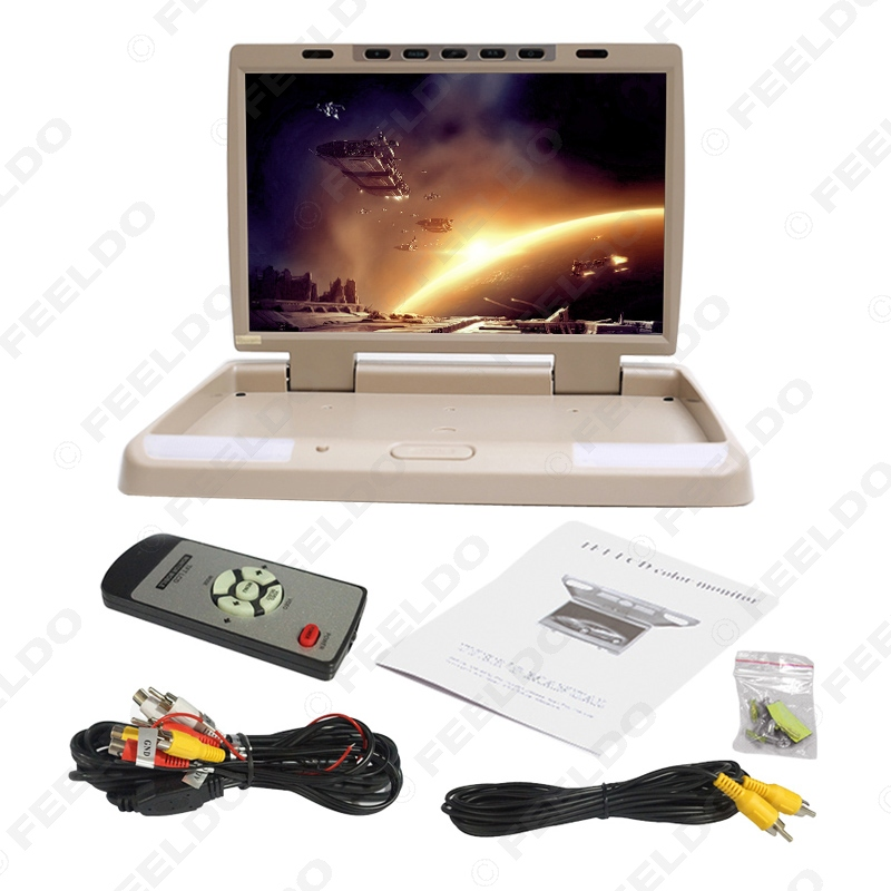 DC12V 15.4 Polegada Carro/Ônibus TFT LCD Telhado Monitor Montado Flip Down Monitor 2 Entrada de Vídeo Maneira com HDMI/VGA/USB/SD/FM Speaker - 6