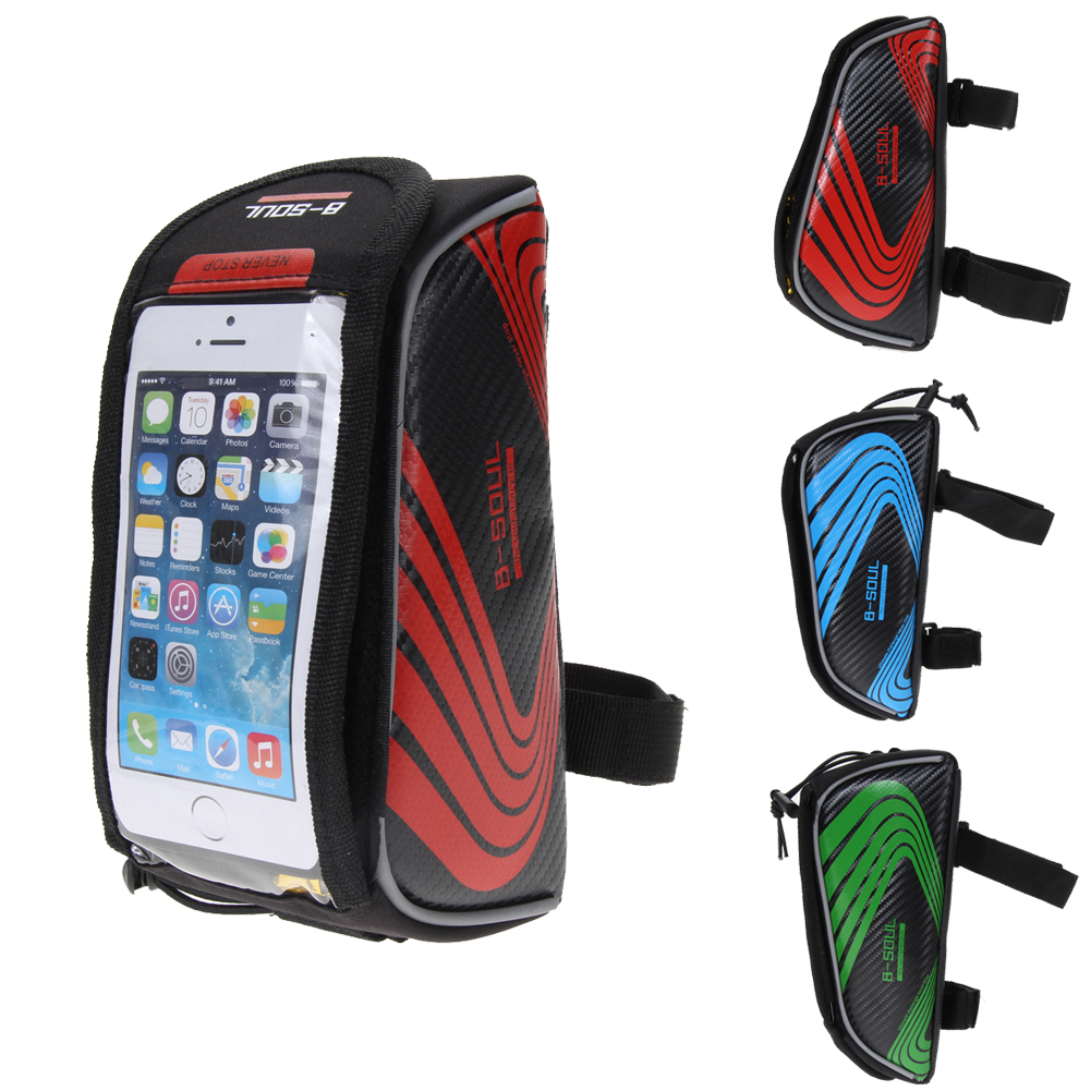 Bicycle Bags Cycling MTB Mountain Bike Frame Front Tube Storage Bag Touch Screen for 5.5 inch Mobile Phone Waterproof