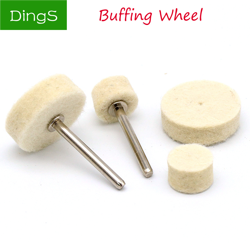10pcs Polishing Buffing Round Wheel Pad Wool Felt + 1 Rod 3.2mm Shank Metal Surface For Dremel Rotary Tools Accessories