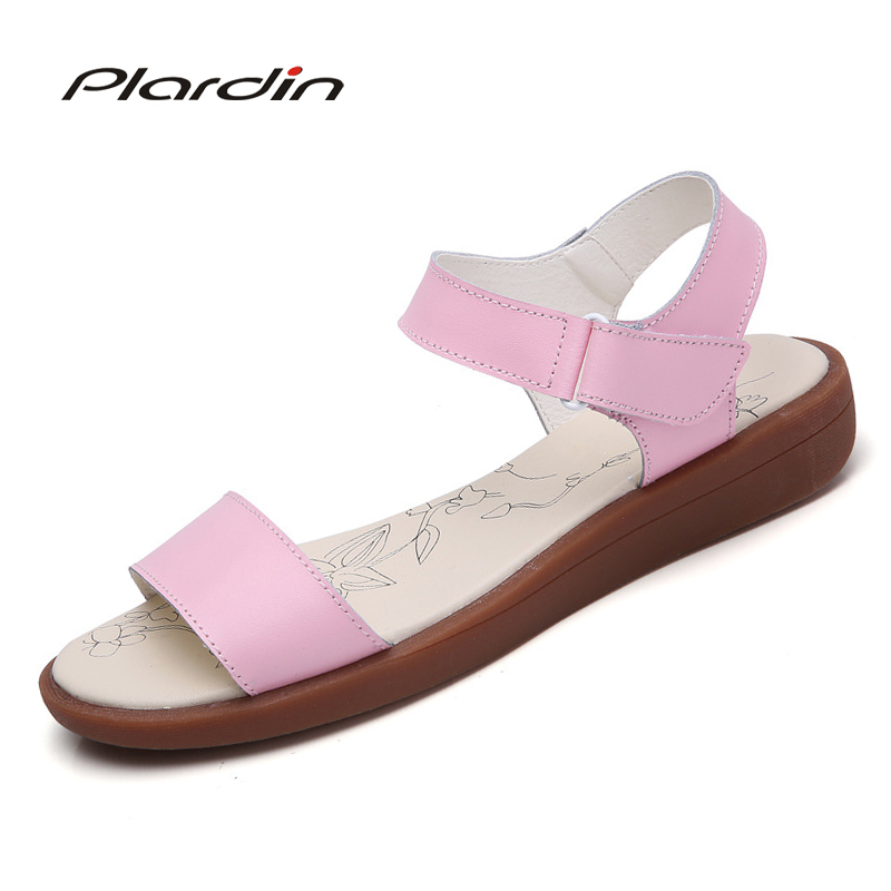 plardin 2018 women shoes summer Buckle Strap flat heel Genuine leather casual Ankle Strap shoes woman beach sandals slippers bronze silver gold buckles shoes slippers sandals shoes strap laces clothing bag 8mm belts buckle clip 500pcs lot free shipping