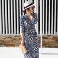 2016 Summer Beach Maxi Vestido de Las Mujeres de La Mariposa Impresión Larga Vestidos Wrap Ladies Femme Robe Longue