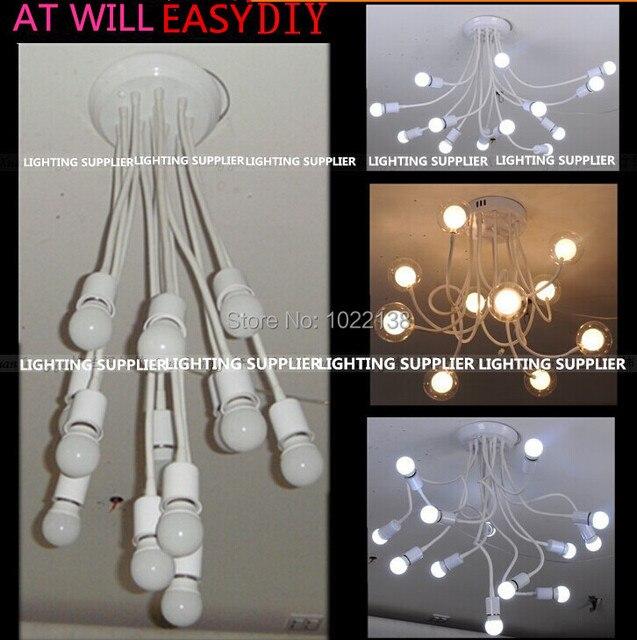 5 Ensembles 10 Tête E27 Pendentif Lampe Titulaire + Ampoule Araignée LED  Suspendus Salle À Manger