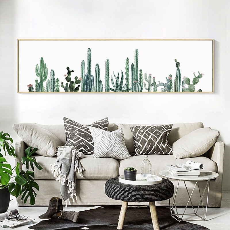 Watercolor succulent canvas art print painting poster cactus set wall pictures for living room for Living room wall decor pictures