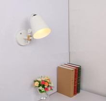 hot sale Wall lamp bedside wall modern wooden light for bedroom Nordic macaroon steering head E27 220V Bulb Included