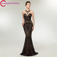Black Evening Party Dress Mermaid Gown Prom Long Cheap Scoop Neckline Sequin Elegant Fast Shipping 2018